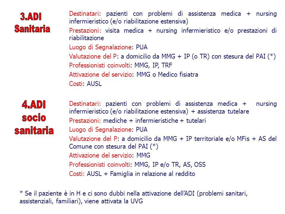 Destinatari: pazienti con problemi di assistenza medica + nursing infermieristico (e/o riabilitazione estensiva) Prestazioni: visita medica + nursing infermieristico e/o prestazioni di riabilitazione Luogo di Segnalazione: PUA Valutazione del P: a domicilio da MMG + IP (o TR) con stesura del PAI (*) Professionisti coinvolti: MMG, IP, TRF Attivazione del servizio: MMG o Medico fisiatra Costi: AUSL Destinatari: pazienti con problemi di assistenza medica + nursing infermieristico (e/o riabilitazione estensiva) + assistenza tutelare Prestazioni: mediche + infermieristiche + tutelari Luogo di Segnalazione: PUA Valutazione del P: a domicilio da MMG + IP territoriale e/o MFis + AS del Comune con stesura del PAI (*) Attivazione del servizio: MMG Professionisti coinvolti: MMG, IP e/o TR, AS, OSS Costi: AUSL + Famiglia in relazione al reddito * Se il paziente è in H e ci sono dubbi nella attivazione dell'ADI (problemi sanitari, assistenziali, familiari), viene attivata la UVG