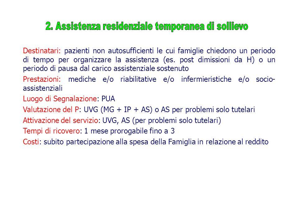 Destinatari: pazienti non autosufficienti le cui famiglie chiedono un periodo di tempo per organizzare la assistenza (es.