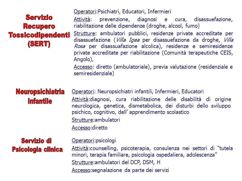 Operatori:Psichiatri, Educatori, Infermieri Attività: prevenzione, diagnosi e cura, disassuefazione, riabilitazione delle dipendenze (droghe, alcool, fumo) Strutture: ambulatori pubblici, residenze private accreditate per disassuefazione (Villa Igea per disassuefazione da droghe, Villa Rosa per disassuafazione alcolica), residenze e semiresidenze private accreditate per riabilitazione (Comunità terapeutiche CEIS, Angolo), Accesso: diretto (ambulatoriale), previa valutazione (residenziale e semiresidenziale) Operatori: Neuropsichiatri infantili, Infermieri, Educatori Attività:diagnosi, cura riabilitazione delle disabilità di origine neurologica, genetica, dismetabolica, dei disturbi dello sviluppo psichico, cognitivo, dell' apprendimento scolastico Strutture:ambulatori Accesso:diretto Operatori:psicologi Attività:counselling, psicoterapia, consulenza nei settori di tutela minori, terapia familiare, psicologia ospedaliera, adolescenza Strutture:ambulatori del DCP, DSM, H Accesso:segnalazione da parte dei servizi
