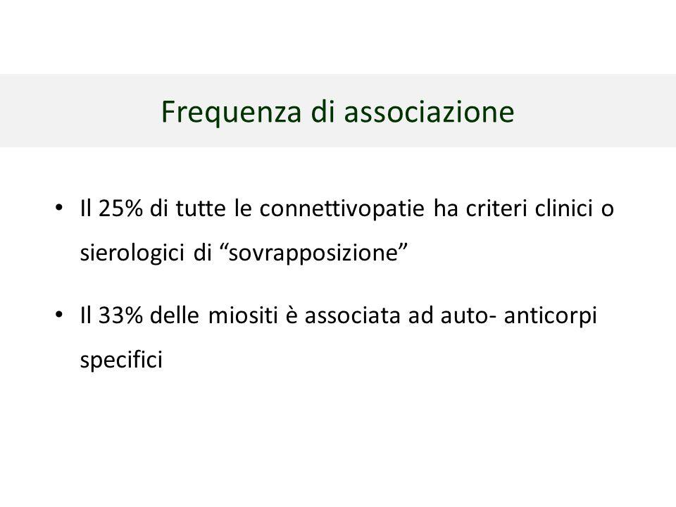 """Frequenza di associazione Il 25% di tutte le connettivopatie ha criteri clinici o sierologici di """"sovrapposizione"""" Il 33% delle miositi è associata ad"""