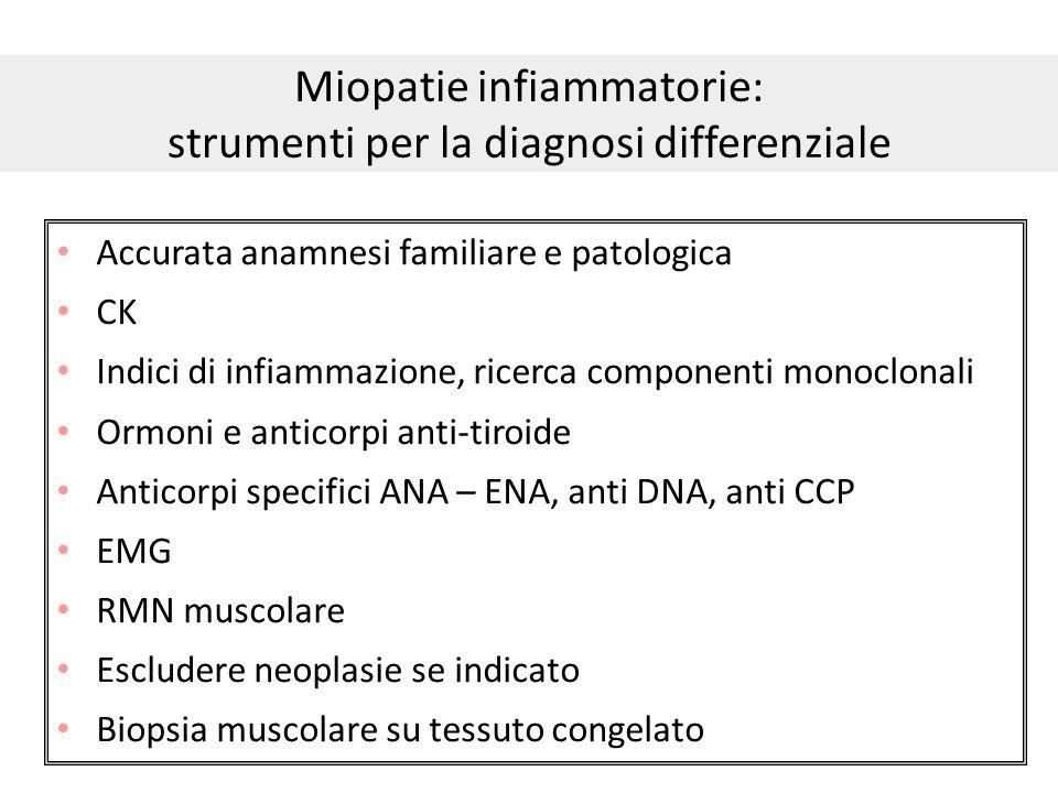 Miopatie infiammatorie: strumenti per la diagnosi differenziale Accurata anamnesi familiare e patologica CK Indici di infiammazione, ricerca component
