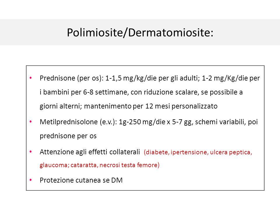 Polimiosite/Dermatomiosite: Prednisone (per os): 1-1,5 mg/kg/die per gli adulti; 1-2 mg/Kg/die per i bambini per 6-8 settimane, con riduzione scalare,
