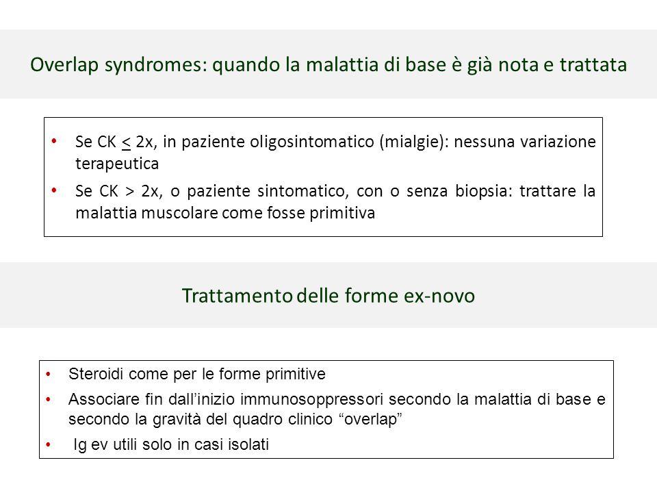 Overlap syndromes: quando la malattia di base è già nota e trattata Se CK < 2x, in paziente oligosintomatico (mialgie): nessuna variazione terapeutica