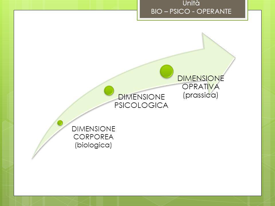 DIMENSIONE OPRATIVA (prassica) DIMENSIONE PSICOLOGICA DIMENSIONE CORPOREA (biologica) Unità BIO – PSICO - OPERANTE