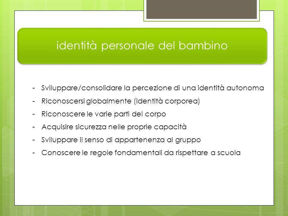 identità personale del bambino -Sviluppare/consolidare la percezione di una identità autonoma -Riconoscersi globalmente (identità corporea) -Riconoscere le varie parti del corpo -Acquisire sicurezza nelle proprie capacità -Sviluppare il senso di appartenenza al gruppo -Conoscere le regole fondamentali da rispettare a scuola