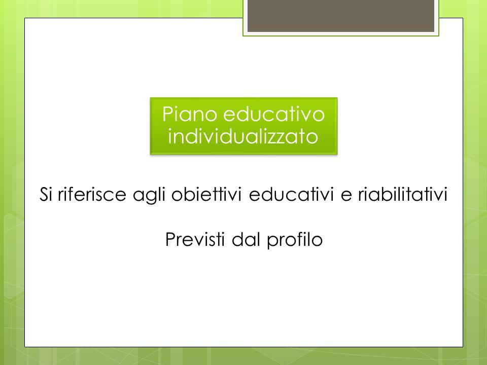 Piano educativo individualizzato Si riferisce agli obiettivi educativi e riabilitativi Previsti dal profilo