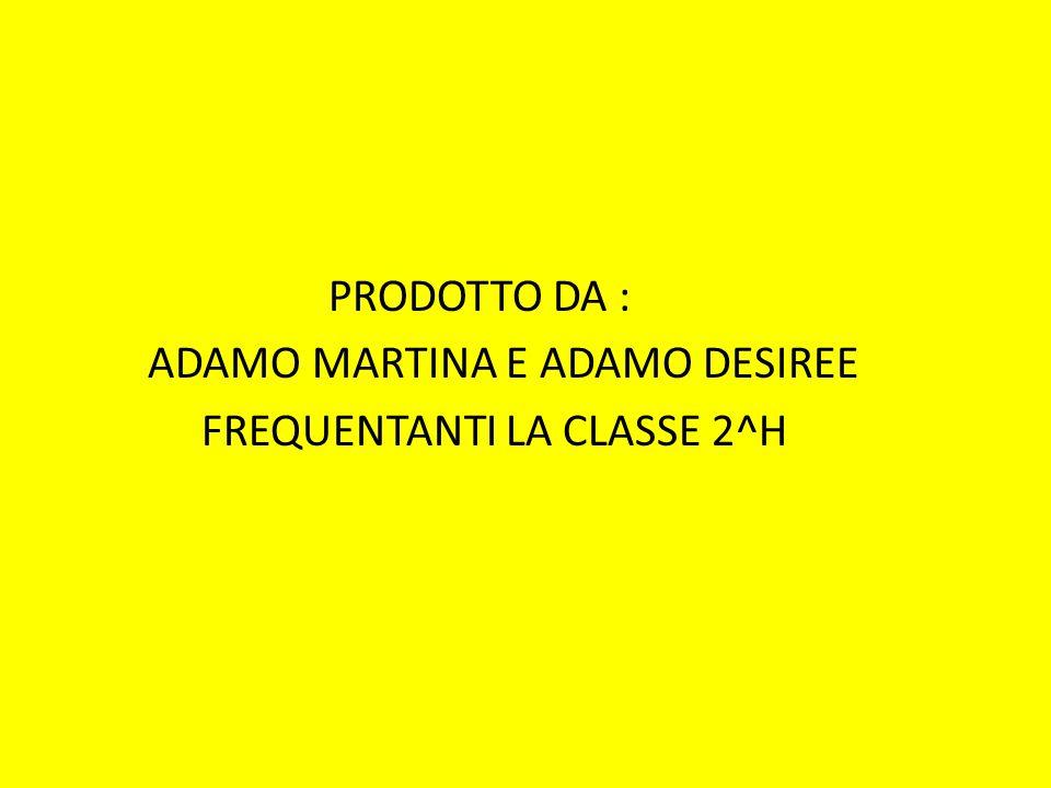 PRODOTTO DA : ADAMO MARTINA E ADAMO DESIREE FREQUENTANTI LA CLASSE 2^H