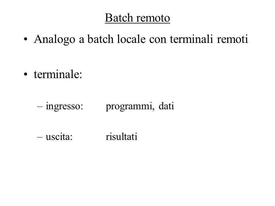 Batch remoto Analogo a batch locale con terminali remoti terminale: –ingresso:programmi, dati –uscita: risultati