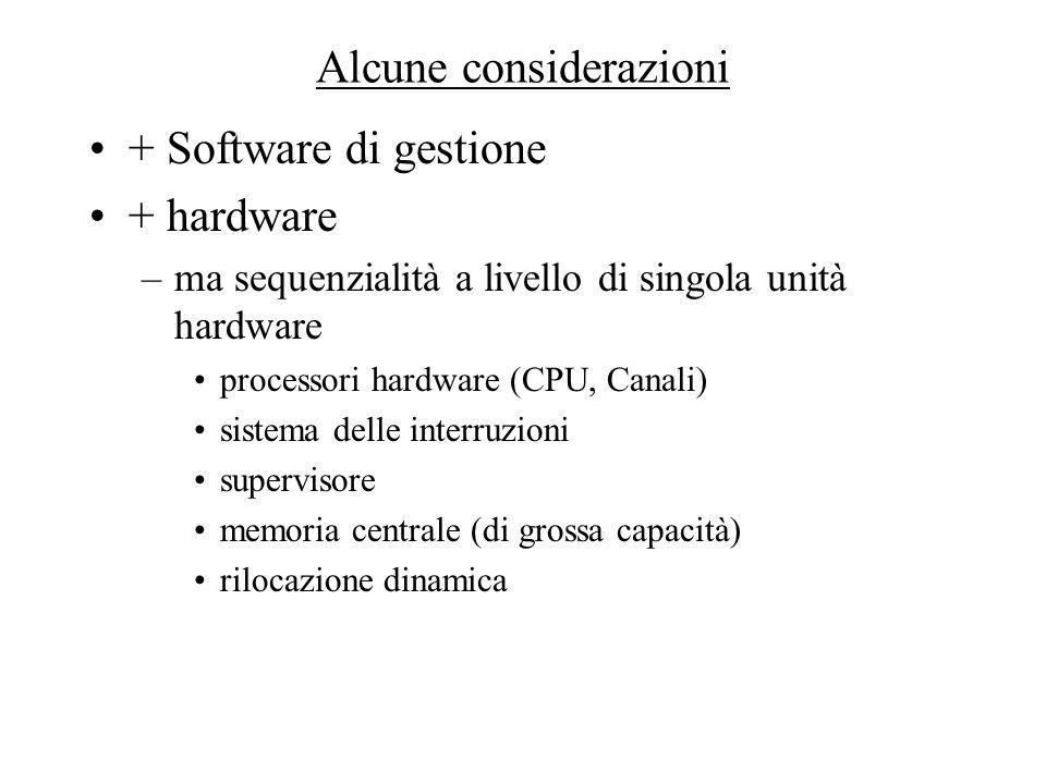Alcune considerazioni + Software di gestione + hardware –ma sequenzialità a livello di singola unità hardware processori hardware (CPU, Canali) sistem