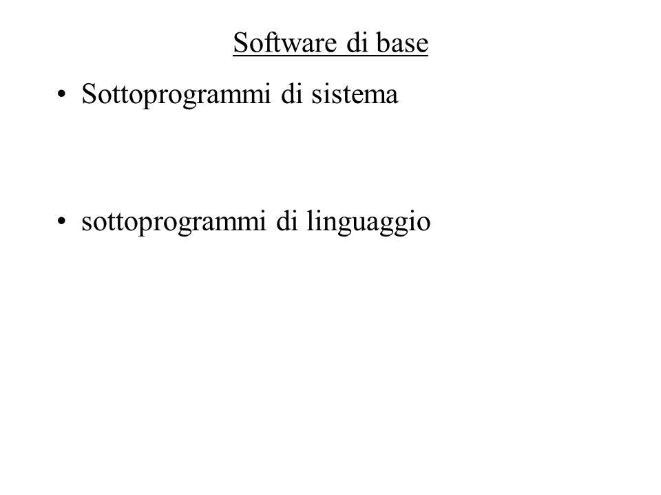 Software di base Sottoprogrammi di sistema sottoprogrammi di linguaggio