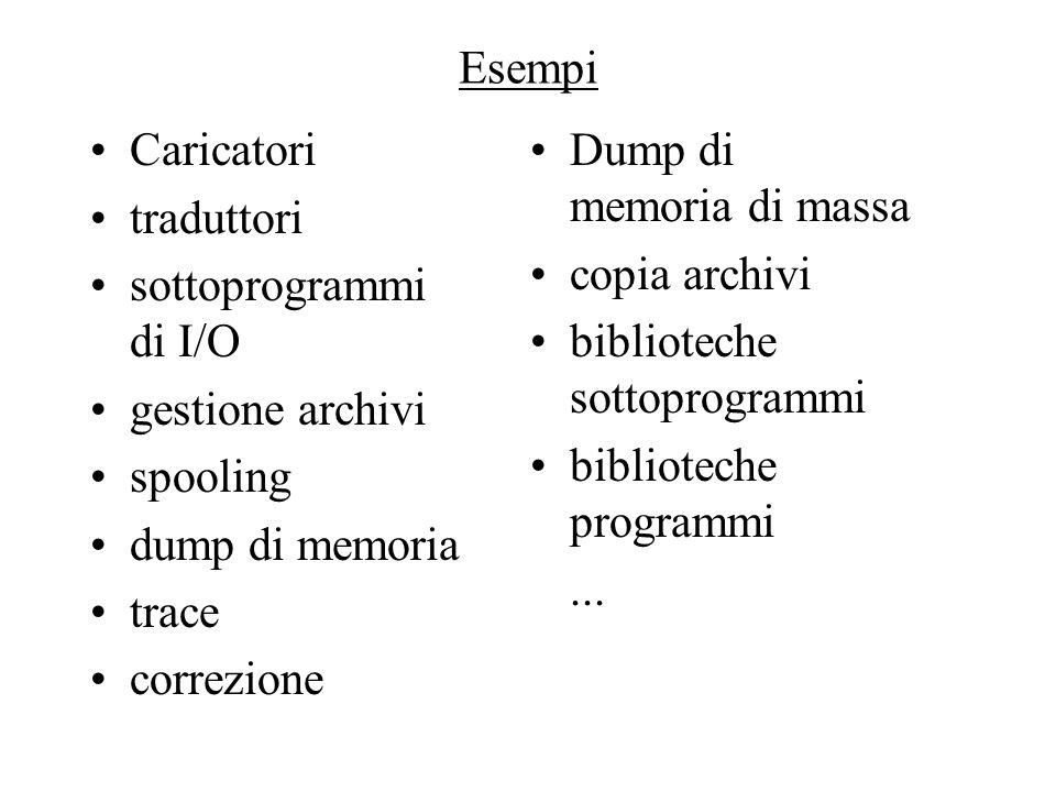 Esempi Caricatori traduttori sottoprogrammi di I/O gestione archivi spooling dump di memoria trace correzione Dump di memoria di massa copia archivi b