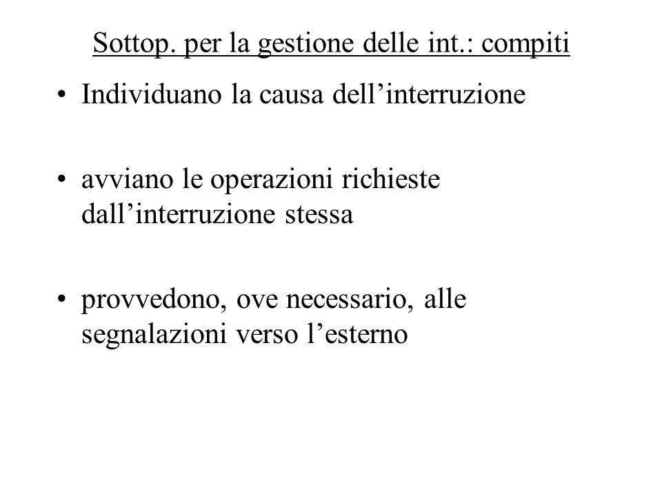 Sottop. per la gestione delle int.: compiti Individuano la causa dell'interruzione avviano le operazioni richieste dall'interruzione stessa provvedono