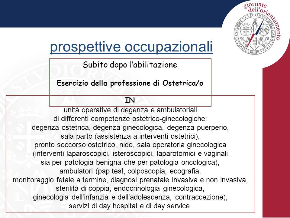 prospettive occupazionali Subito dopo l'abilitazione Esercizio della professione di Ostetrica/o IN unità operative di degenza e ambulatoriali di diffe