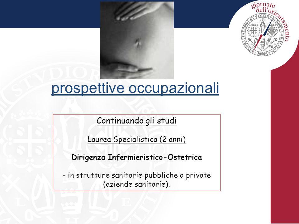 prospettive occupazionali Continuando gli studi Laurea Specialistica (2 anni) Dirigenza Infermieristico-Ostetrica - in strutture sanitarie pubbliche o private (aziende sanitarie).