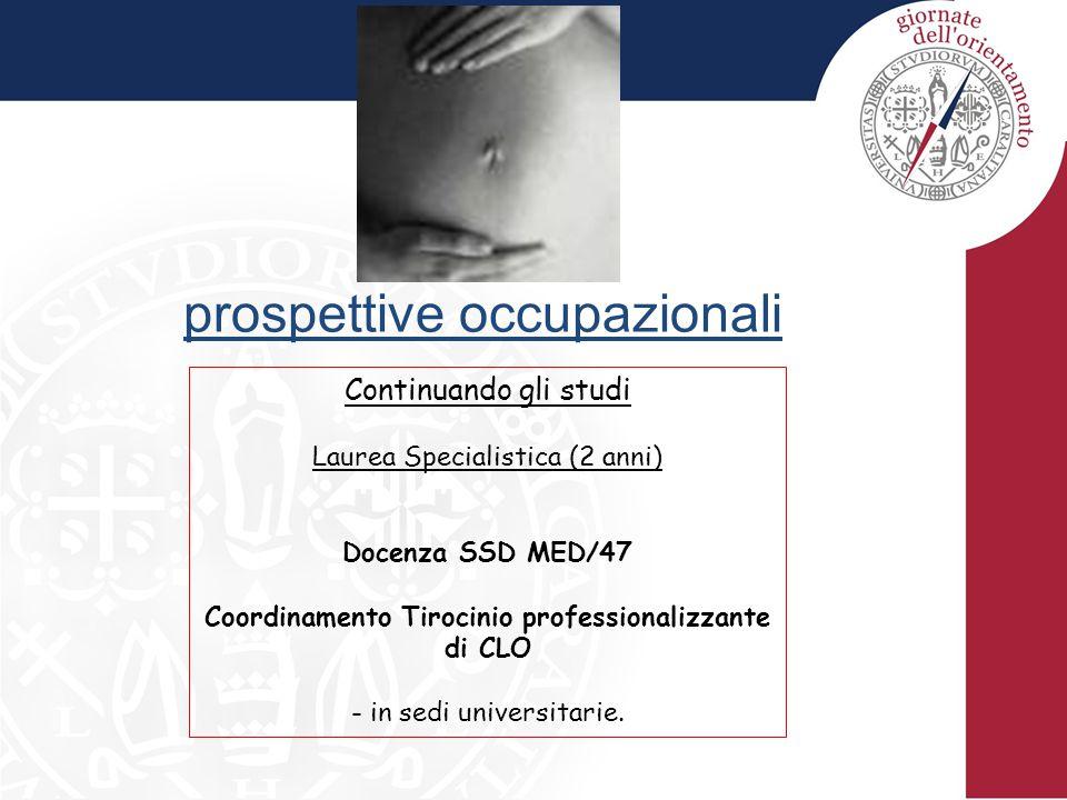 prospettive occupazionali Continuando gli studi Laurea Specialistica (2 anni) Docenza SSD MED/47 Coordinamento Tirocinio professionalizzante di CLO - in sedi universitarie.