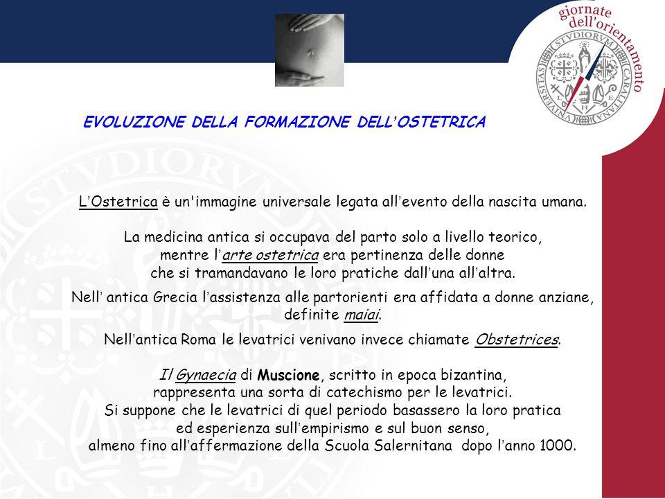 EVOLUZIONE DELLA FORMAZIONE DELL ' OSTETRICA L ' Ostetrica è un'immagine universale legata all ' evento della nascita umana. La medicina antica si occ
