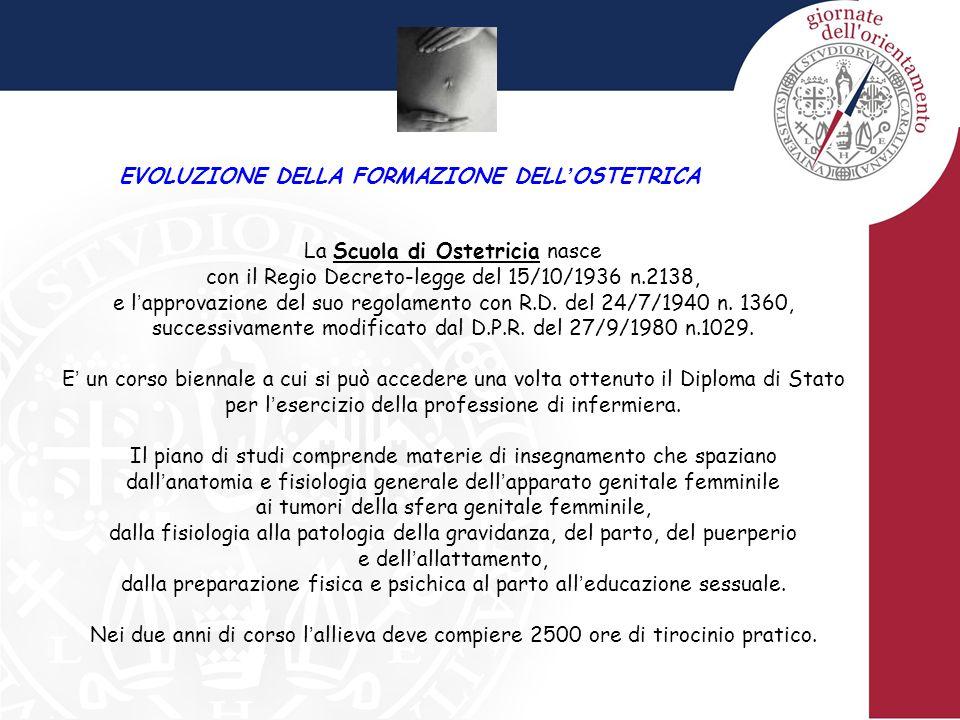 EVOLUZIONE DELLA FORMAZIONE DELL ' OSTETRICA La Scuola di Ostetricia nasce con il Regio Decreto-legge del 15/10/1936 n.2138, e l ' approvazione del su