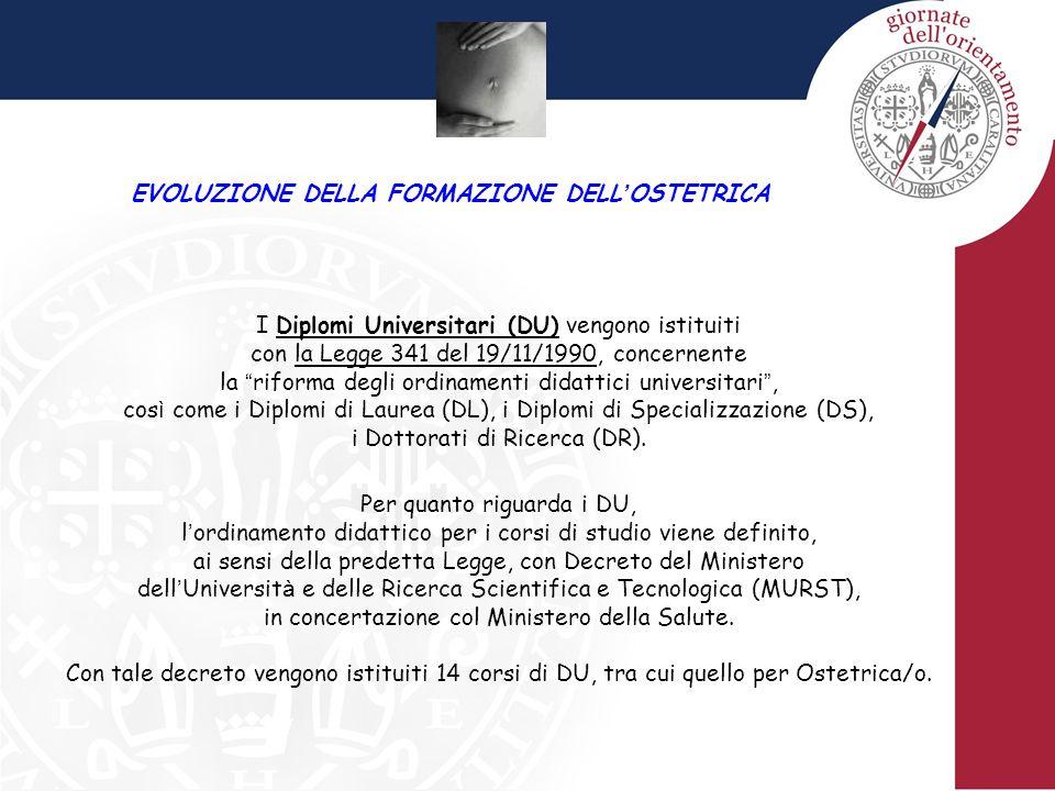 EVOLUZIONE DELLA FORMAZIONE DELL ' OSTETRICA I Diplomi Universitari (DU) vengono istituiti con la Legge 341 del 19/11/1990, concernente la riforma degli ordinamenti didattici universitari , cos ì come i Diplomi di Laurea (DL), i Diplomi di Specializzazione (DS), i Dottorati di Ricerca (DR).