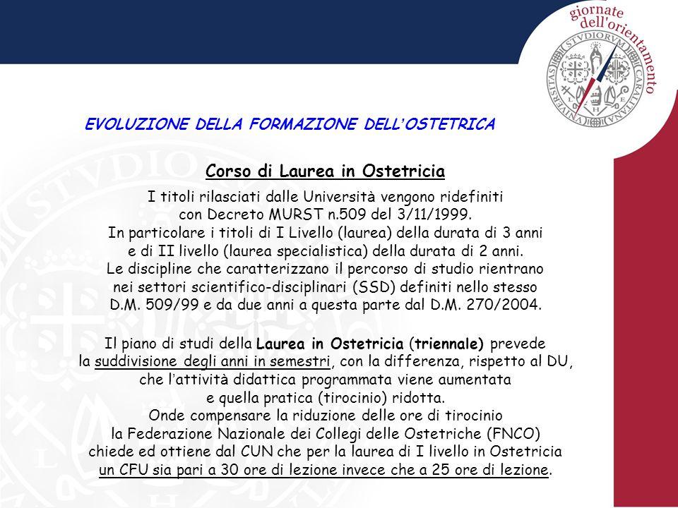 EVOLUZIONE DELLA FORMAZIONE DELL ' OSTETRICA Corso di Laurea in Ostetricia I titoli rilasciati dalle Universit à vengono ridefiniti con Decreto MURST n.509 del 3/11/1999.