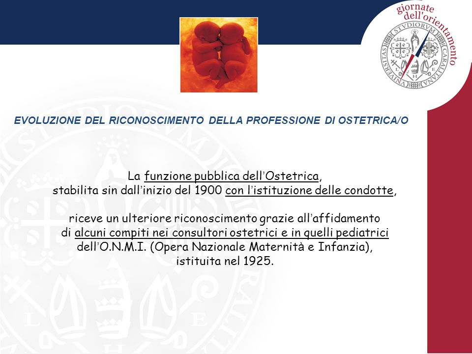 EVOLUZIONE DEL RICONOSCIMENTO DELLA PROFESSIONE DI OSTETRICA/O La funzione pubblica dell ' Ostetrica, stabilita sin dall ' inizio del 1900 con l ' ist