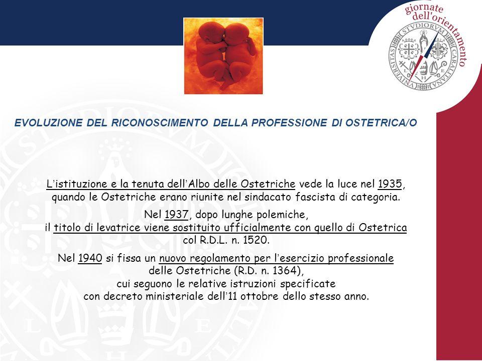 EVOLUZIONE DEL RICONOSCIMENTO DELLA PROFESSIONE DI OSTETRICA/O L ' istituzione e la tenuta dell ' Albo delle Ostetriche vede la luce nel 1935, quando le Ostetriche erano riunite nel sindacato fascista di categoria.