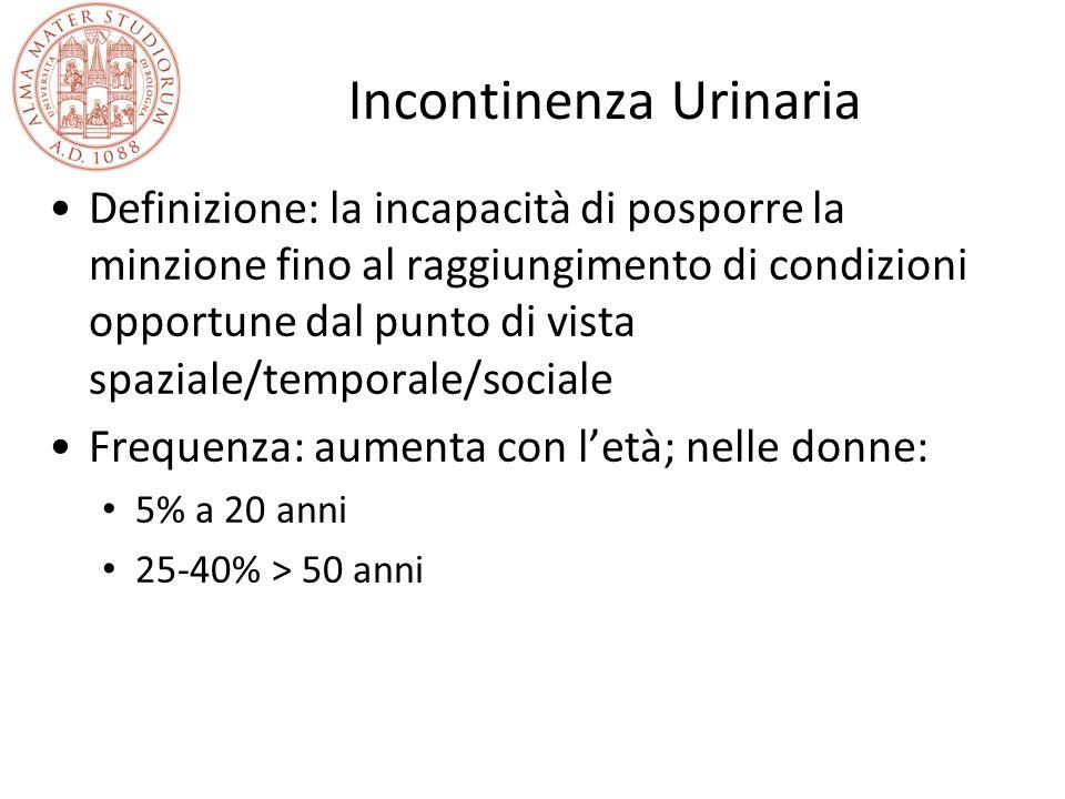 Incontinenza urinaria e gravidanza: frequenza in ordine decrescente Più parti vaginali Un parto vaginale Taglio cesareo elettivo Nessun parto