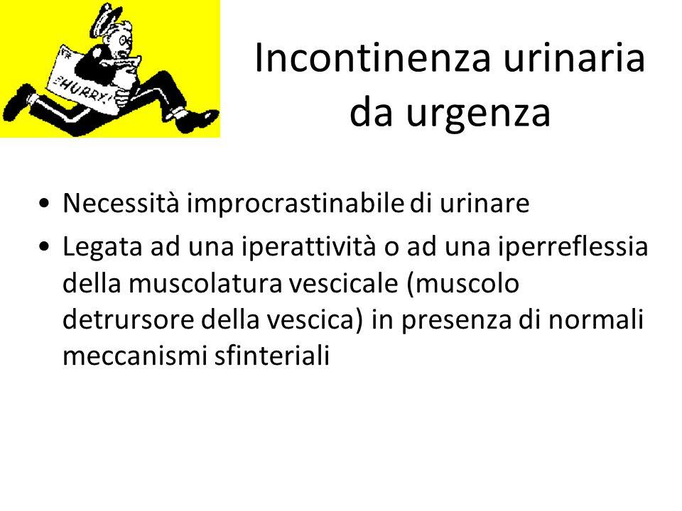 Incontinenza urinaria da urgenza Necessità improcrastinabile di urinare Legata ad una iperattività o ad una iperreflessia della muscolatura vescicale