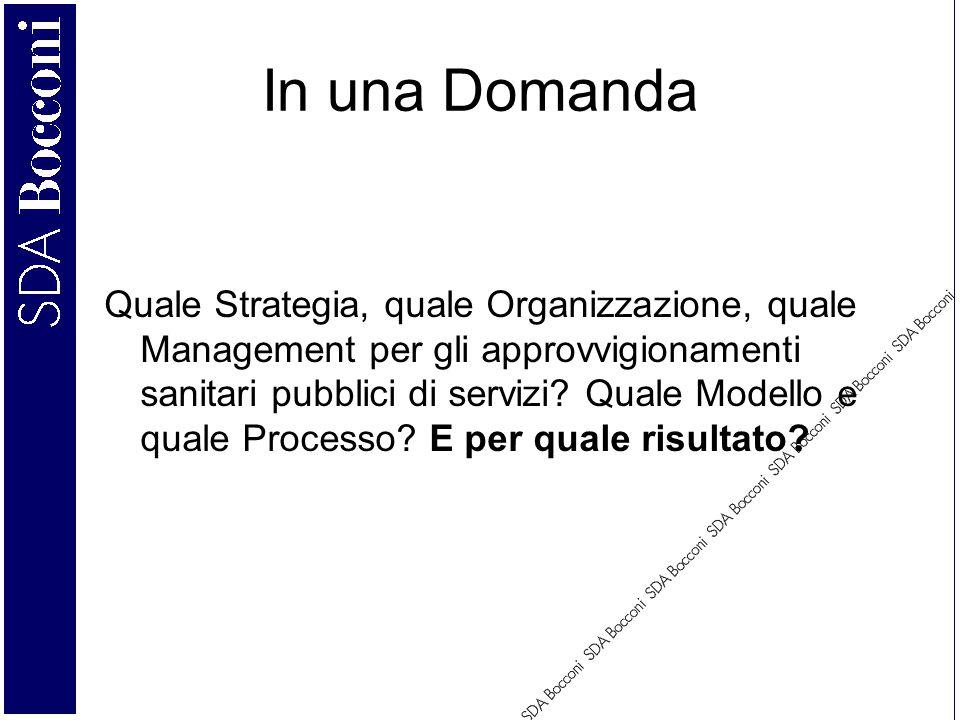 In una Domanda Quale Strategia, quale Organizzazione, quale Management per gli approvvigionamenti sanitari pubblici di servizi.