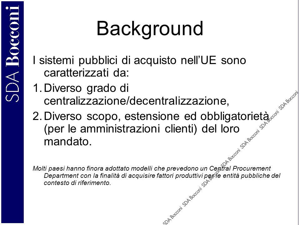 Background I sistemi pubblici di acquisto nell'UE sono caratterizzati da: 1.Diverso grado di centralizzazione/decentralizzazione, 2.Diverso scopo, estensione ed obbligatorietà (per le amministrazioni clienti) del loro mandato.