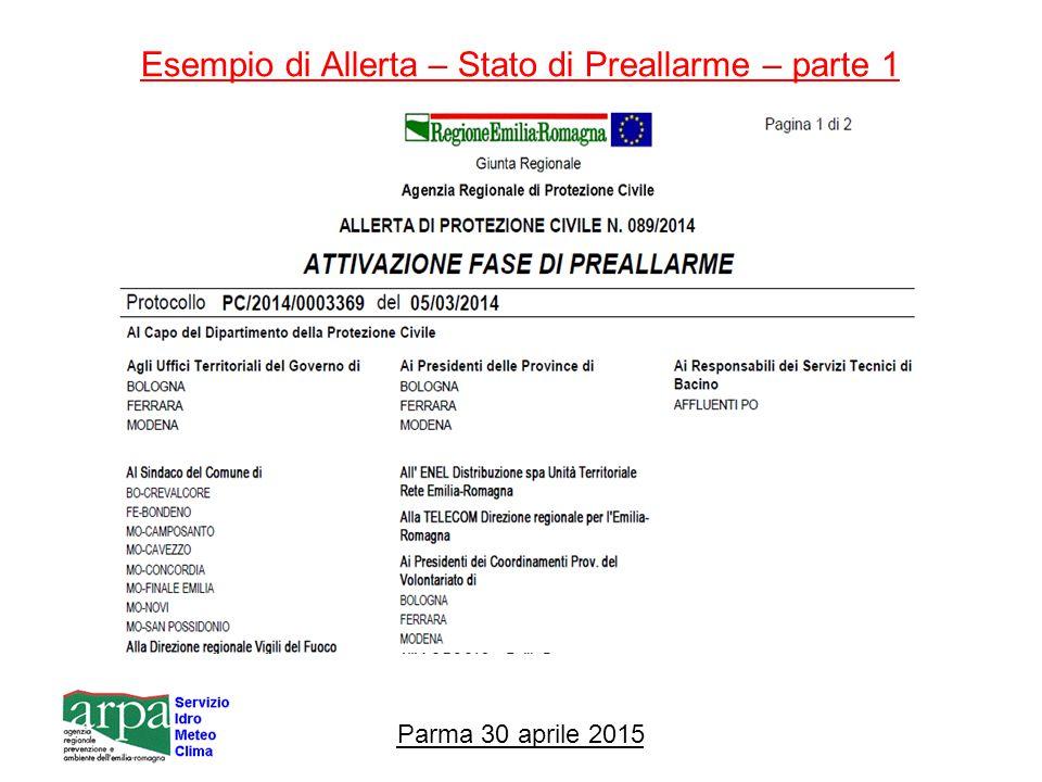 Esempio di Allerta – Stato di Preallarme – parte 1 Parma 30 aprile 2015