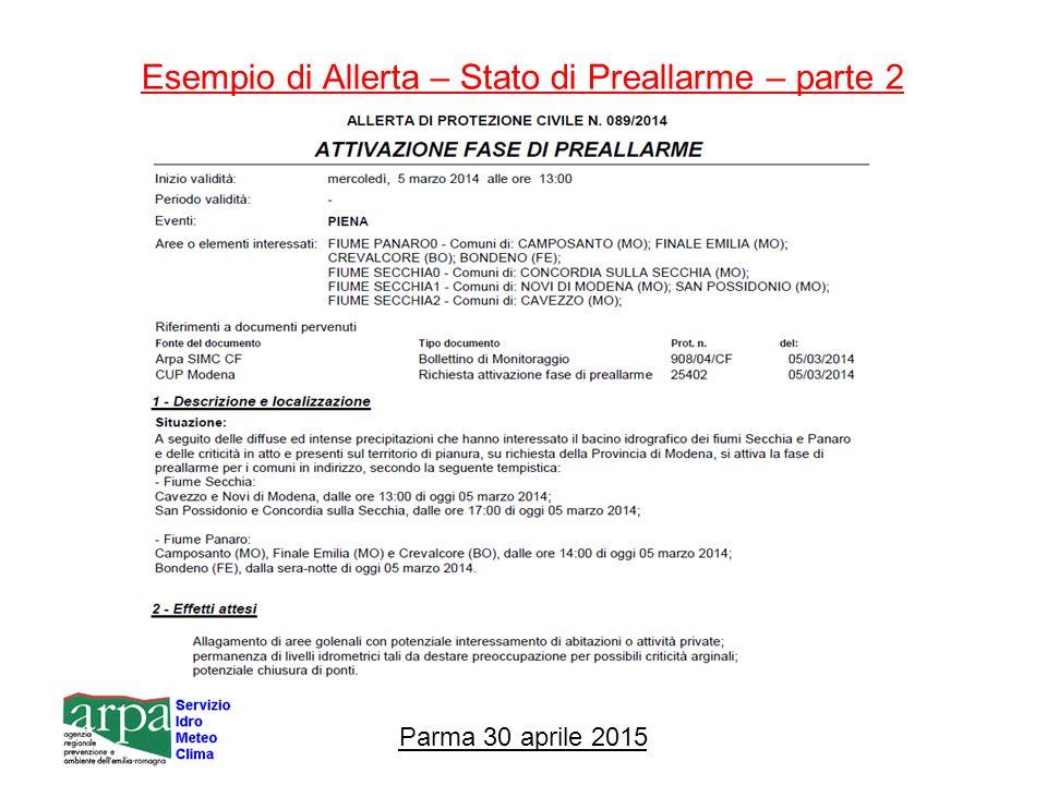 Esempio di Allerta – Stato di Preallarme – parte 2 Parma 30 aprile 2015
