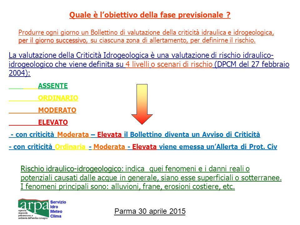 Parma 30 aprile 2015 Quale è l'obiettivo della fase previsionale .