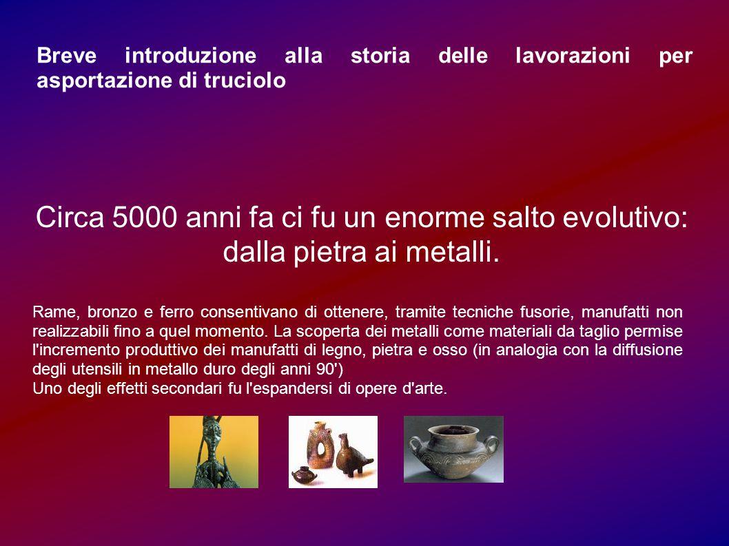 Breve introduzione alla storia delle lavorazioni per asportazione di truciolo Circa 5000 anni fa ci fu un enorme salto evolutivo: dalla pietra ai meta