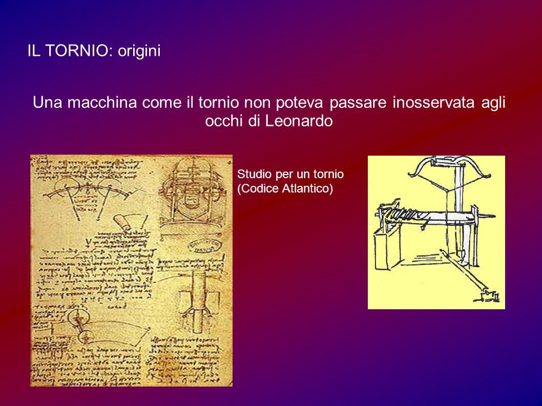 IL TORNIO: origini Una macchina come il tornio non poteva passare inosservata agli occhi di Leonardo Studio per un tornio (Codice Atlantico)