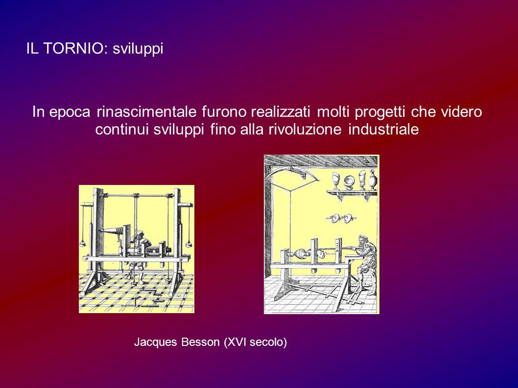 IL TORNIO: sviluppi In epoca rinascimentale furono realizzati molti progetti che videro continui sviluppi fino alla rivoluzione industriale Jacques Besson (XVI secolo)
