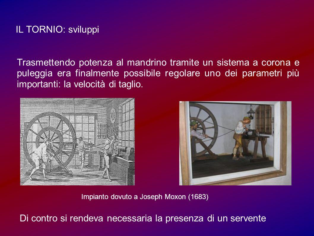 IL TORNIO: sviluppi Trasmettendo potenza al mandrino tramite un sistema a corona e puleggia era finalmente possibile regolare uno dei parametri più importanti: la velocità di taglio.