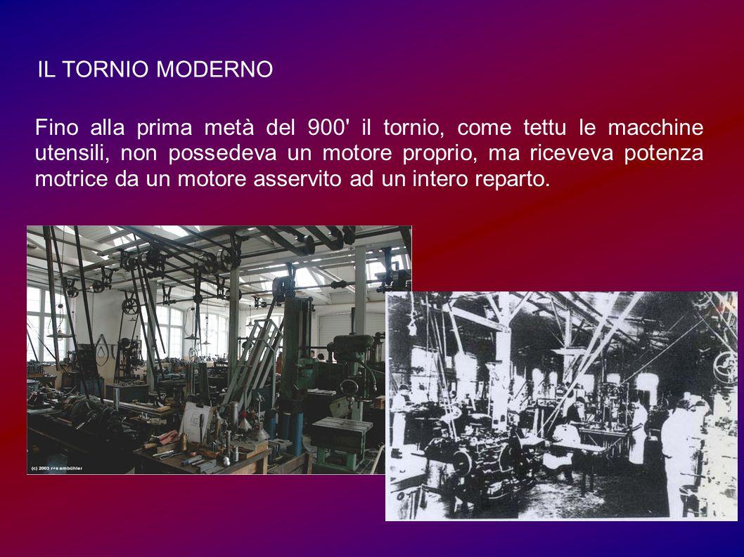 IL TORNIO MODERNO Fino alla prima metà del 900 il tornio, come tettu le macchine utensili, non possedeva un motore proprio, ma riceveva potenza motrice da un motore asservito ad un intero reparto.