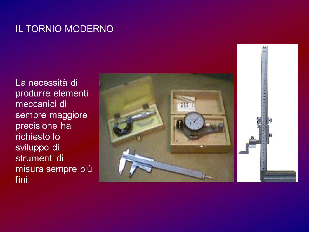 IL TORNIO MODERNO La necessità di produrre elementi meccanici di sempre maggiore precisione ha richiesto lo sviluppo di strumenti di misura sempre più fini.
