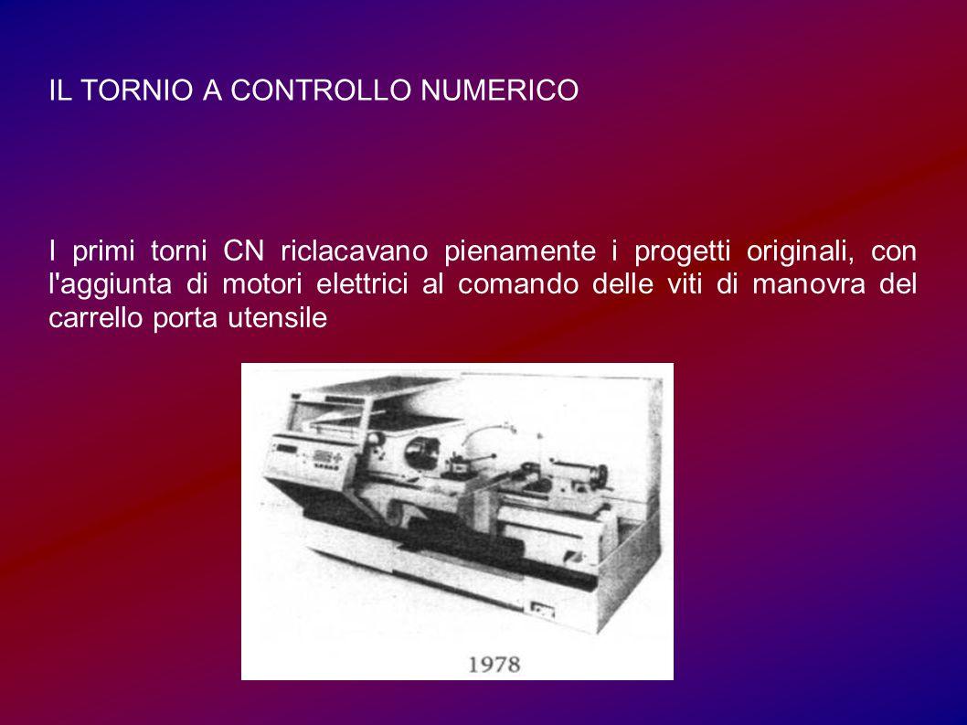 IL TORNIO A CONTROLLO NUMERICO I primi torni CN riclacavano pienamente i progetti originali, con l aggiunta di motori elettrici al comando delle viti di manovra del carrello porta utensile