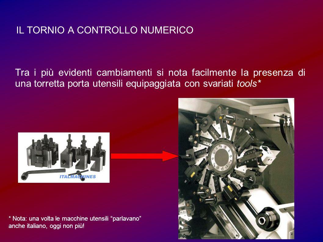 IL TORNIO A CONTROLLO NUMERICO Tra i più evidenti cambiamenti si nota facilmente la presenza di una torretta porta utensili equipaggiata con svariati