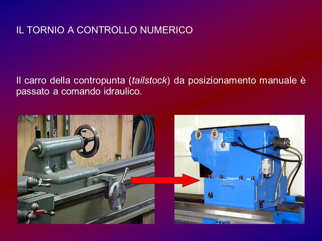 IL TORNIO A CONTROLLO NUMERICO Il carro della contropunta (tailstock) da posizionamento manuale è passato a comando idraulico.