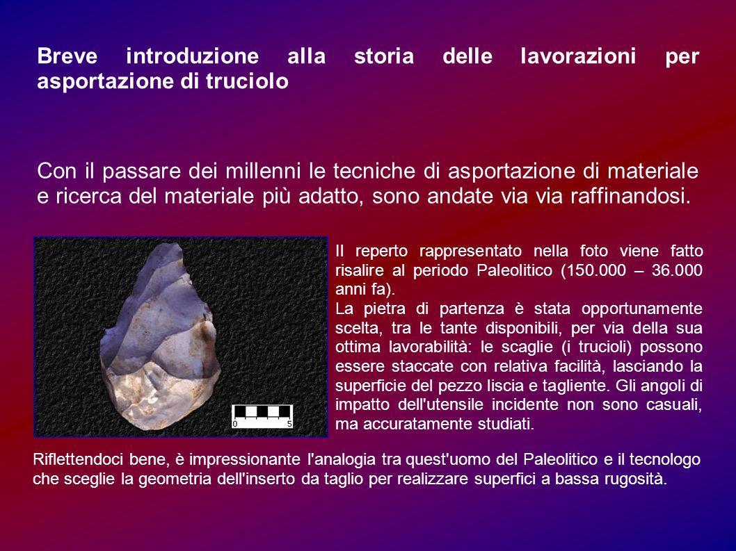 Breve introduzione alla storia delle lavorazioni per asportazione di truciolo Con il passare dei millenni le tecniche di asportazione di materiale e r