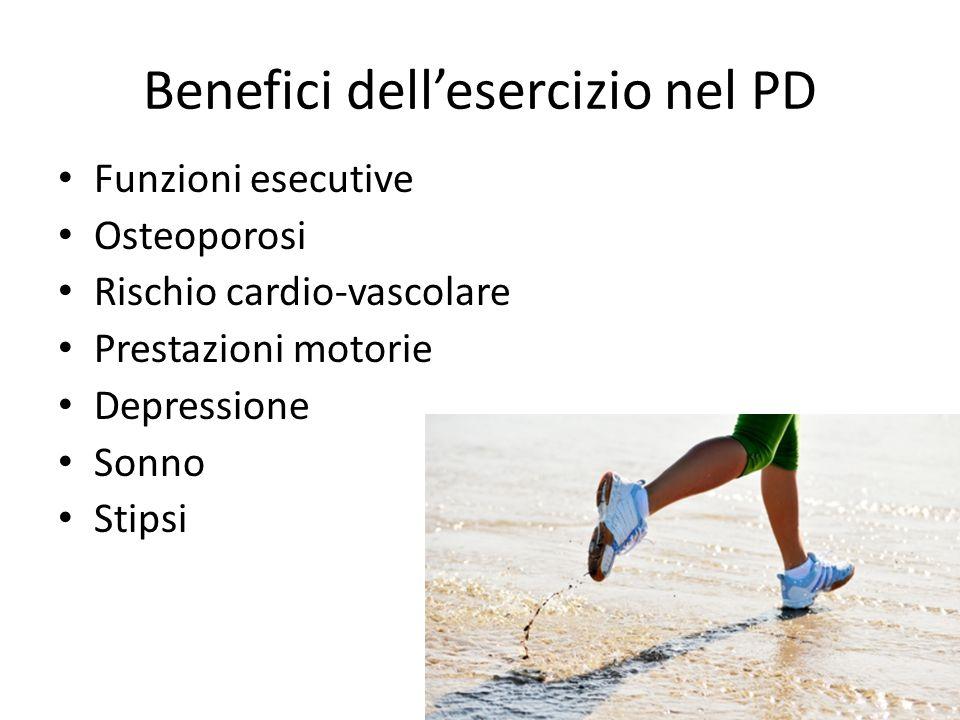 Benefici dell'esercizio nel PD Funzioni esecutive Osteoporosi Rischio cardio-vascolare Prestazioni motorie Depressione Sonno Stipsi