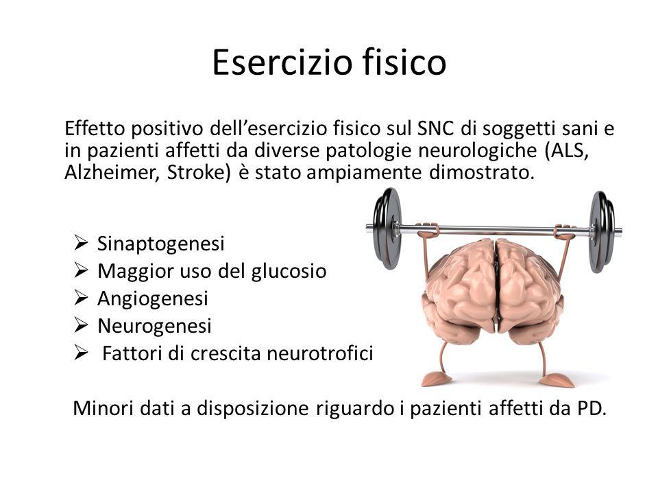 Esercizio fisico Effetto positivo dell'esercizio fisico sul SNC di soggetti sani e in pazienti affetti da diverse patologie neurologiche (ALS, Alzheim