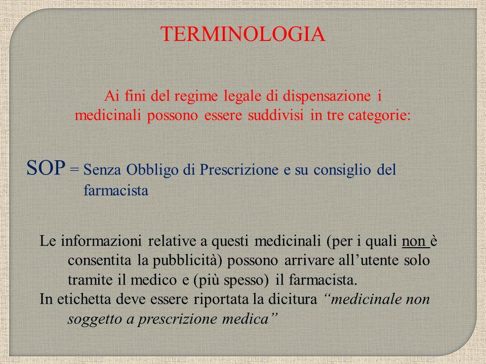 TERMINOLOGIA Secondo Il Ministero della Sanità i medicinali per automedicazione devono rispondere alle seguenti caratteristiche: SOP COMPOSIZIONE Dei principi attivi o loro associazioni devono essere state approfondite l'efficacia e la sicurezza.