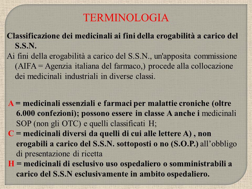 Classificazione dei medicinali ai fini della erogabilità a carico del S.S.N. Ai fini della erogabilità a carico del S.S.N., un'apposita commissione (A