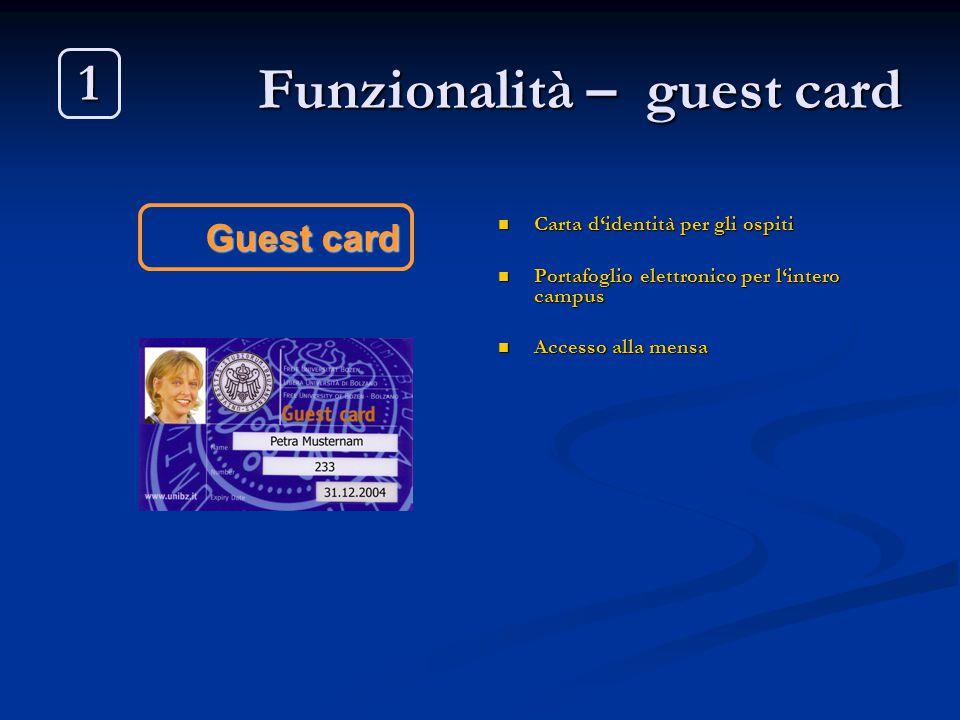 Funzionalità – guest card Carta d'identità per gli ospiti Portafoglio elettronico per l'intero campus Accesso alla mensa Guest card 1