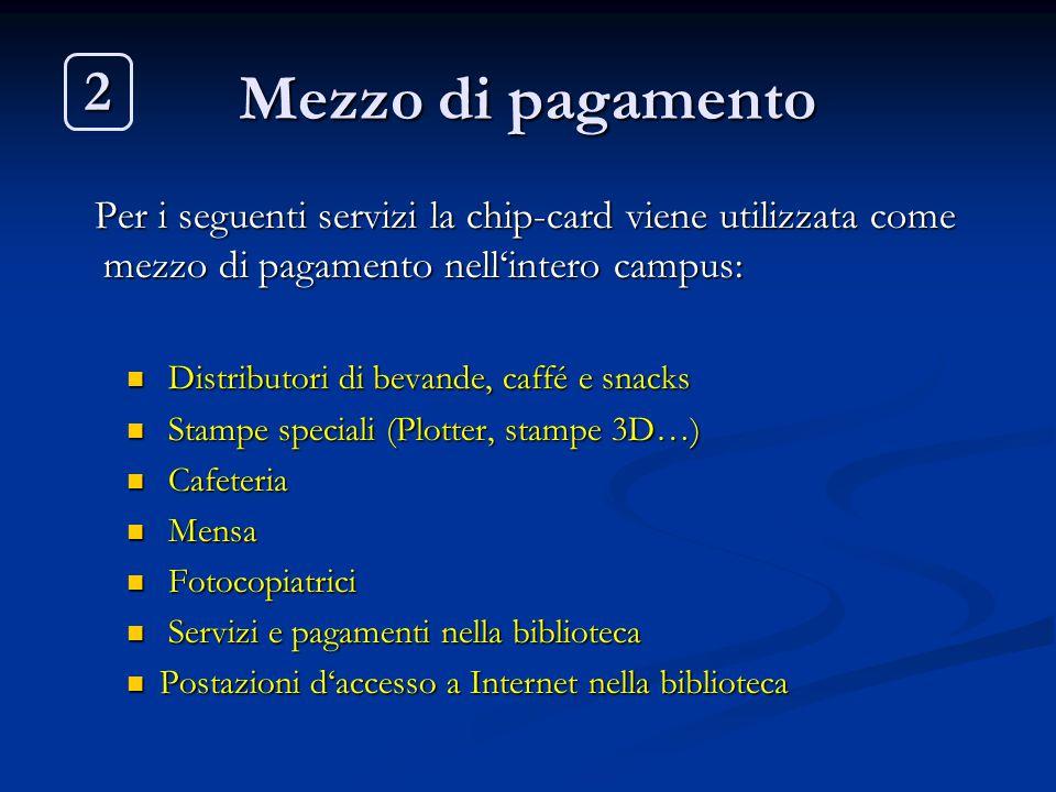 Mezzo di pagamento Per i seguenti servizi la chip-card viene utilizzata come mezzo di pagamento nell'intero campus: Per i seguenti servizi la chip-car