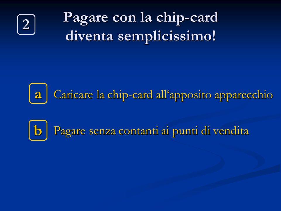 Pagare con la chip-card diventa semplicissimo! Caricare la chip-card all'apposito apparecchio Caricare la chip-card all'apposito apparecchio Pagare se