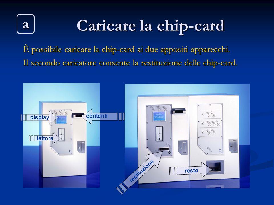 Caricare la chip-card È possibile caricare la chip-card ai due appositi apparecchi. Il secondo caricatore consente la restituzione delle chip-card. di